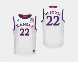 #22 College Basketball White Men Silvio De Sousa KU Jersey 365237-104