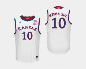 #10 For Men's White Sviatoslav Mykhailiuk KU Jersey College Basketball 912188-846