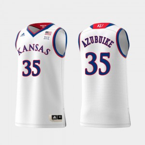 Swingman College Basketball Men White Replica #35 Udoka Azubuike KU Jersey 833347-790