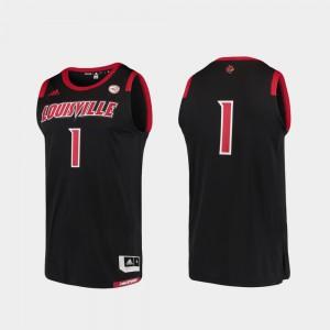 #1 For Men Louisville Jersey Basketball Swingman Black College Replica 574046-530