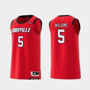 Men's Replica #5 College Basketball Red Malik Williams Louisville Jersey 340869-579