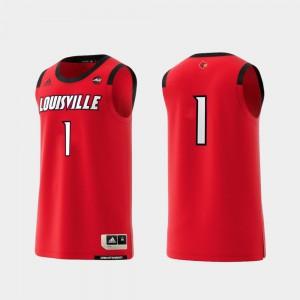 #1 Red College Replica For Men's Basketball Swingman Louisville Jersey 737932-484
