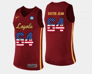 US Flag Fashion Maroon Men's #64 Basketball Sister Jean Loyola Jersey 617128-581
