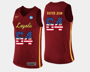 US Flag Fashion Mens Sister Jean Loyola Jersey Maroon Basketball #64 348931-840