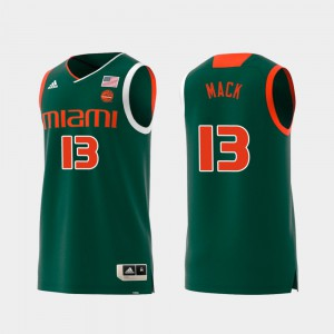 Anthony Mack Miami Jersey Green #13 Men Replica Swingman College Basketball 567822-172