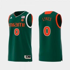 #0 Chris Lykes Miami Jersey Men Green Replica Swingman College Basketball 214489-734