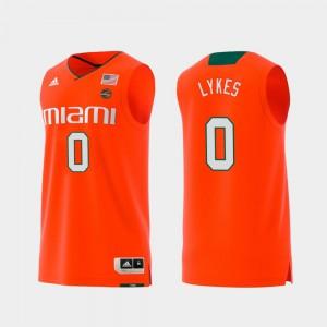 For Men's #0 Swingman College Basketball Orange Replica Chris Lykes Miami Jersey 545786-802