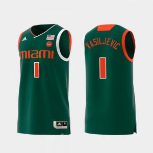 For Men #1 Swingman College Basketball Dejan Vasiljevic Miami Jersey Replica Green 330452-807