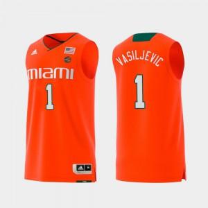 Dejan Vasiljevic Miami Jersey Swingman College Basketball For Men #1 Orange Replica 249313-345
