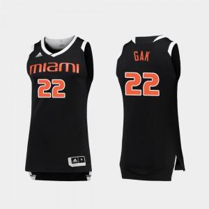 #22 Men Deng Gak Miami Jersey College Basketball Black White Chase 672412-387