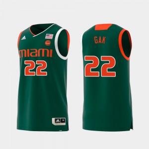 Swingman College Basketball Deng Gak Miami Jersey For Men Green Replica #22 791079-272