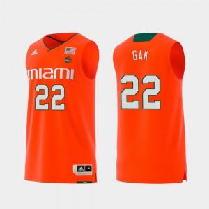 Swingman College Basketball Mens #22 Deng Gak Miami Jersey Replica Orange 360546-681