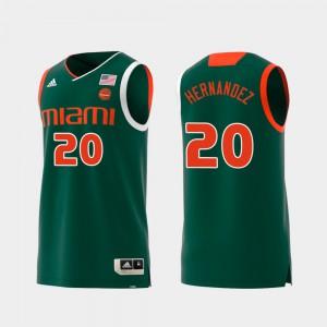 #20 Green Men Replica Dewan Hernandez Miami Jersey Swingman College Basketball 876218-530