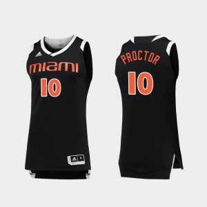 Mens College Basketball Black White Dominic Proctor Miami Jersey Chase #10 734236-606
