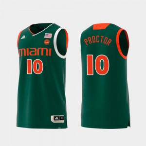 Replica Green #10 Mens Dominic Proctor Miami Jersey Swingman College Basketball 259175-943