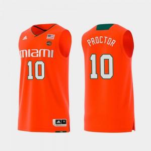 For Men Swingman College Basketball Replica #10 Dominic Proctor Miami Jersey Orange 364381-652