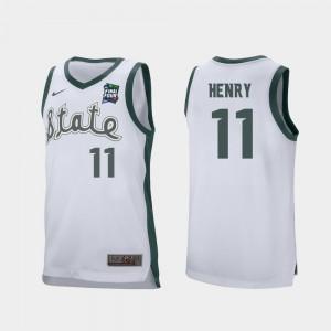 #11 Aaron Henry MSU Jersey White 2019 Final-Four Retro Performance Men's 873144-588