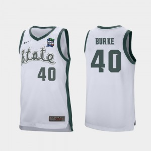 Retro Performance For Men White #40 Braden Burke MSU Jersey 2019 Final-Four 246349-578