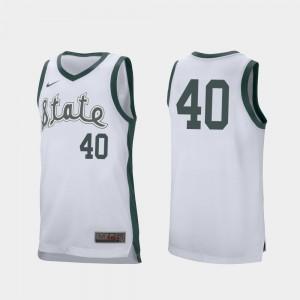 White Retro Performance College Basketball For Men's Braden Burke MSU Jersey #40 238339-263