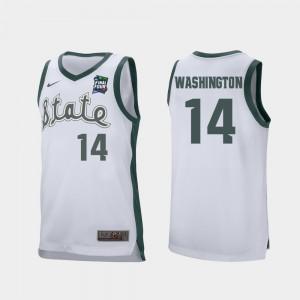 Men Brock Washington MSU Jersey White #14 Retro Performance 2019 Final-Four 122424-447