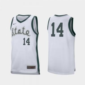 White Retro Performance College Basketball Brock Washington MSU Jersey Men's #14 141180-323