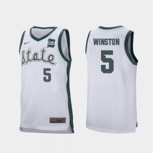 White Cassius Winston MSU Jersey Retro Performance #5 For Men 2019 Final-Four 992649-159
