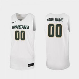 Men MSU Customized Jersey 2019-20 College Basketball #00 White Replica 338570-287