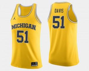 Maize College Basketball #51 Austin Davis Michigan Jersey For Men 564359-693