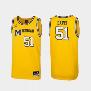 Replica Maize Austin Davis Michigan Jersey #51 1989 Throwback College Basketball Mens 610779-442