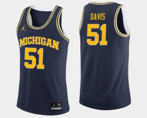 Mens Navy College Basketball #51 Austin Davis Michigan Jersey 633574-335