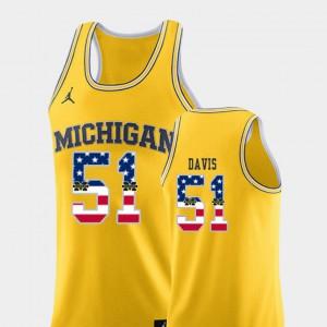 College Basketball Austin Davis Michigan Jersey USA Flag #51 Men's Yellow 681475-920