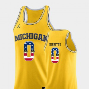 USA Flag Yellow #0 Men College Basketball Brent Hibbitts Michigan Jersey 113260-493