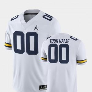 Michigan Custom Jerseys White For Men College Football #00 2018 Game 905619-644