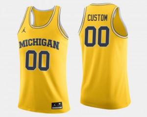 College Basketball Michigan Customized Jersey #00 For Men Maize 420434-165