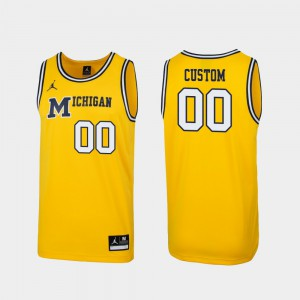 For Men's Replica Maize Michigan Customized Jersey #00 1989 Throwback College Basketball 559001-284