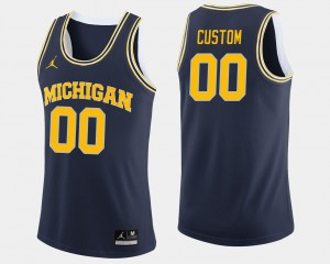 Navy For Men's #00 College Basketball Michigan Customized Jersey 820843-580