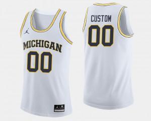 #00 White Michigan Custom Jersey Men College Basketball 385046-834
