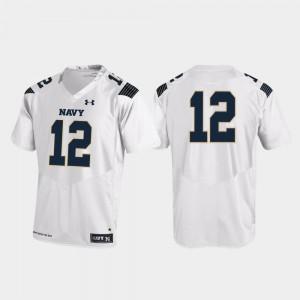 Navy Jersey Men's College Football White Replica #12 146463-685