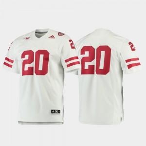 Nebraska Jersey #20 For Men's Football Premier White 545086-233