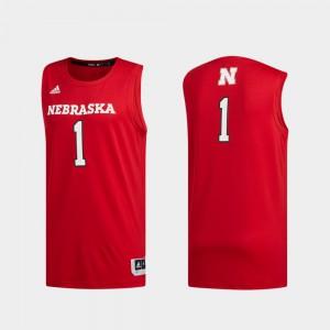 Men Basketball Swingman #1 Nebraska Jersey Swingman Basketball Scarlet 725357-951