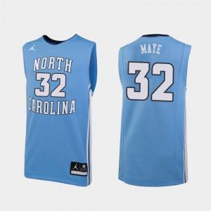#32 Carolina Blue College Basketball Luke Maye UNC Jersey For Men's Replica 263151-274