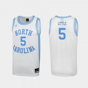 Special College Basketball For Men's #5 White March Madness Nassir Little UNC Jersey 459741-736