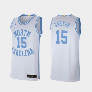 #15 College Basketball White Retro Limited Vince Carter UNC Jersey Men's 743113-369