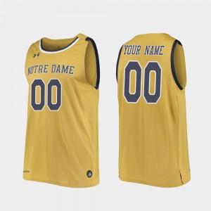 Men's Notre Dame Customized Jerseys #00 Replica College Basketball Gold 293570-530