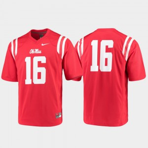 For Men College Football Game #16 Ole Miss Jersey Red 442031-659
