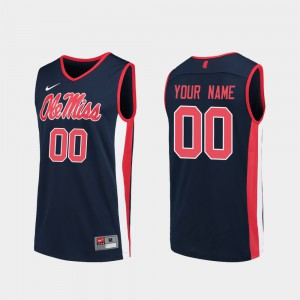 Ole Miss Customized Jersey Replica #00 College Basketball Mens Navy 772065-530