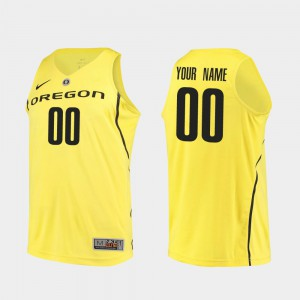 #00 College Basketball Men's Yellow Oregon Customized Jersey Authentic 432457-367
