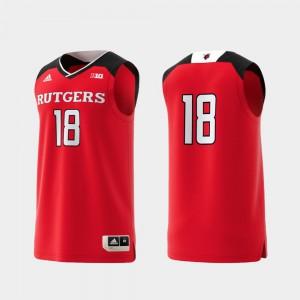College Replica Rutgers Jersey Mens #18 Scarlet Basketball Swingman 257553-954