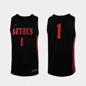 Black Replica For Men's #1 San Diego State Jersey College Basketball 410481-275