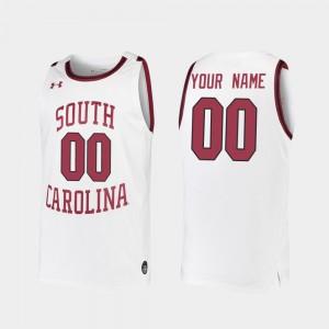 2019-20 College Basketball South Carolina Custom Jerseys Replica #00 White Men's 685132-761